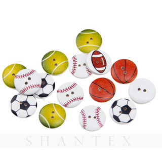 Colorful Cartoon Basketball Football Rugby Ball Printed Buttons Wooden Buckles