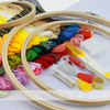 Full Range of Embroidery Starter Kit Cross Stitch 5 Pieces Bamboo Hoops, 50 Color Threads, 2 Pieces 14ct Aida Cloth