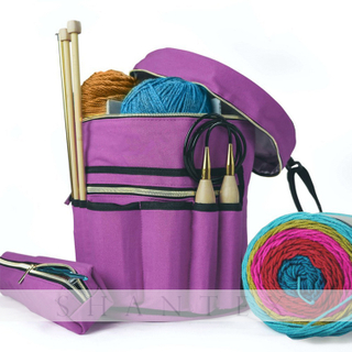 Purple Durable Knitting Organizer Crochet Storage Canvas Bag Knitting Yarn Bag Custom Yarn Storage Bag
