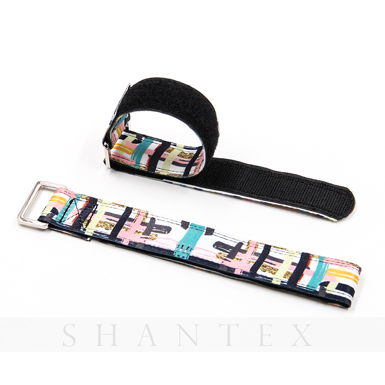 Custom Logo Assorted Color Adjustable Sport Wristband Hook And Loop Strap With Metal Buckle